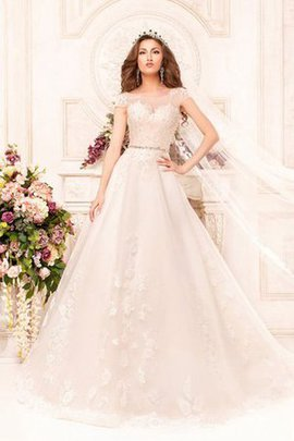 Court Train Floor Length A-Line Lace Short Sleeves Wedding Dress