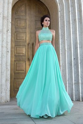 Empire Waist Sleeveless Floor Length Zipper Up Beading Prom Dress