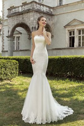 Lace Natural Waist Sleeveless Strapless Mermaid Wedding Dress