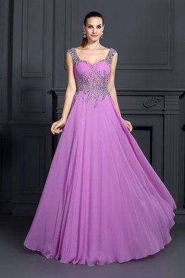 Chiffon Floor Length Sleeveless Beading Spaghetti Straps Prom Dress