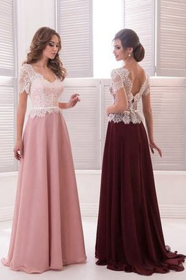 Lace Floor Length Natural Waist Sweep Train Chiffon Prom Dress