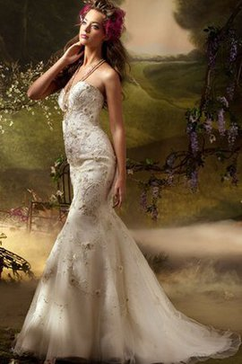 Flowers Natural Waist Sleeveless Embroidery Mermaid Wedding Dress