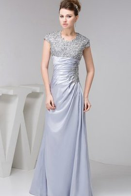 Floor Length Taffeta Draped Ruched Jewel Evening Dress