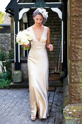 V-Neck Sleeveless Sweep Train Natural Waist Sheath Wedding Dress