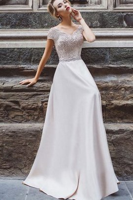 A-Line Floor Length Natural Waist Short Sleeves Capped Sleeves Prom Dress