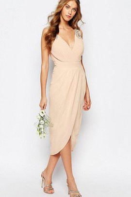 Beading Ruched Chiffon V-Neck Sleeveless Bridesmaid Dress