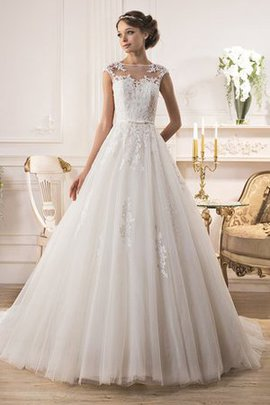 Appliques Floor Length Chapel Train A-Line Jewel Wedding Dress