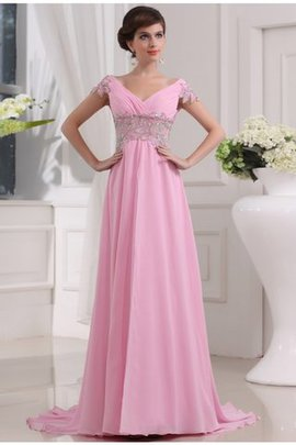 Long V-Neck A-Line Natural Waist Evening Dress