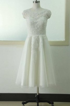Capped Sleeves Appliques Lace-up Lace Fabric Informal & Casual Wedding Dress