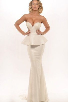 Sleeveless Backless Sequins Sweep Train Natural Waist Evening Dress