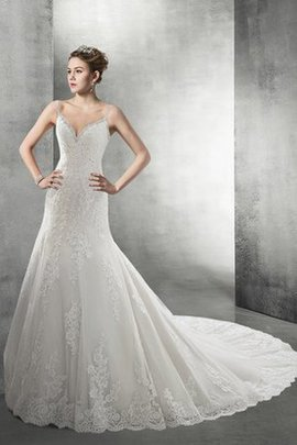 Spaghetti Straps Lace Fabric Natural Waist V-Neck Beading Wedding Dress
