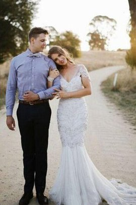 Mermaid Lace Fabric Capped Sleeves Floor Length Beading Wedding Dress