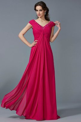 Short Sleeves Chiffon Beading Long A-Line Evening Dress