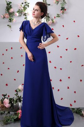Sheath V-Neck Sleeveless Chiffon Evening Dress