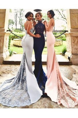 Halter Sleeveless Sweep Train Mermaid Lace Bridesmaid Dress