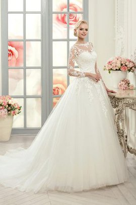 Button Elegant & Luxurious Appliques Long Sleeves Lace Wedding Dress