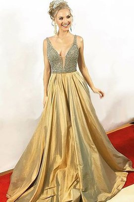 V-Neck Taffeta Dazzling A-Line Natural Waist Beading Floor Length Evening Dress