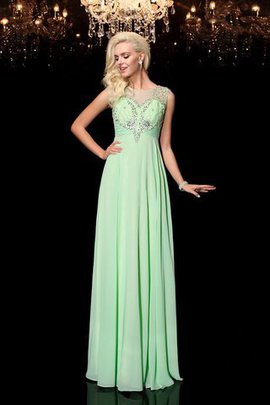 Beading Floor Length A-Line Chiffon Scoop Evening Dress
