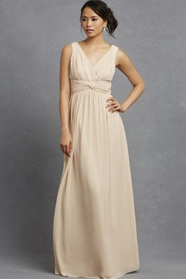 Ruched Chic & Modern V-Neck Chiffon Sleeveless Bridesmaid Dress