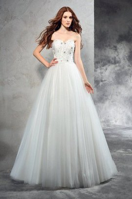 Natural Waist Long A-Line Zipper Up Sweetheart Wedding Dress