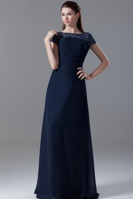 Short Sleeves Sheath Zipper Up Simple Bateau Evening Dress