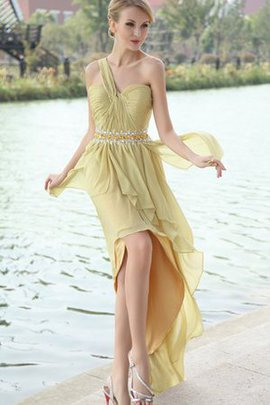 One Shoulder Chiffon Beading High Low Evening Dress