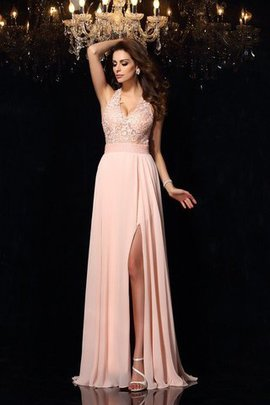Empire Waist Chiffon Long Lace Sweep Train Evening Dress