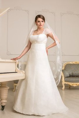 Lace Fabric Ruched Square Empire Waist Floor Length Wedding Dress