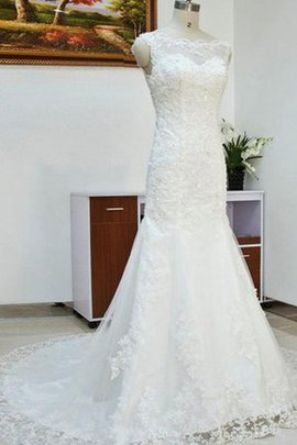 Hall Long Natural Waist Crystal Lace Fabric Wedding Dress