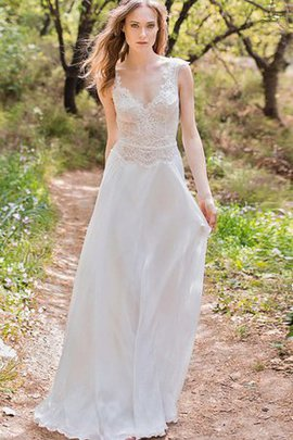 Sleeveless Lace Fabric Chiffon Beach Floor Length Wedding Dress