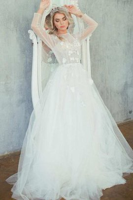 High Neck Embroidery Lace-up Vintage Wedding Dress
