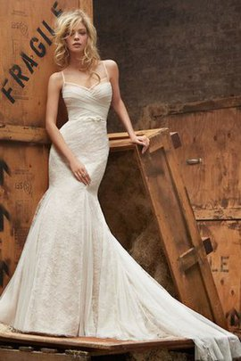 Bow Sweep Train Ruched Mermaid Lace Fabric Wedding Dress