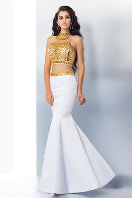Natural Waist Mermaid Sleeveless Satin Beading Prom Dress