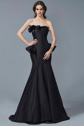 Long Zipper Up Ruffles Sweep Train Natural Waist Evening Dress