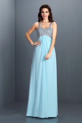Spaghetti Straps Beading Chiffon Natural Waist Princess Evening Dress