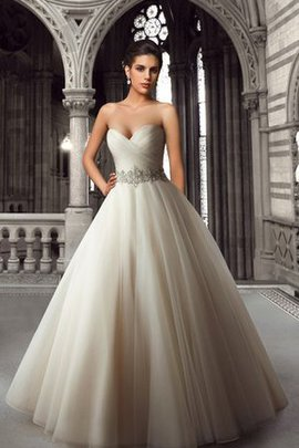 Strapless Pleated Sexy Floor Length Natural Waist Wedding Dress