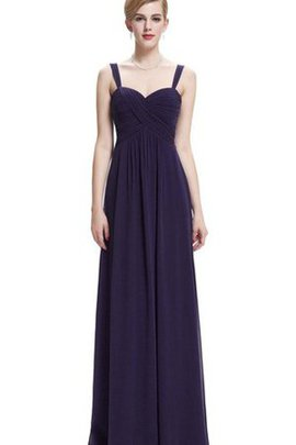 Sleeveless V-Neck Ruched Floor Length Empire Waist Bridesmaid Dress