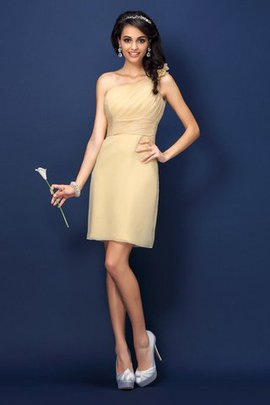 Sheath Short One Shoulder Chiffon Flowers Bridesmaid Dress