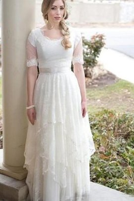 Chic & Modern Elegant & Luxurious Scalloped-Edge Beach A-Line Wedding Dress