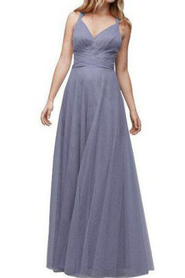 Ruched Halter A-Line Floor Length Tulle Bridesmaid Dress