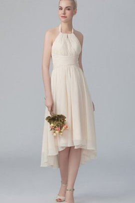 High Low Tiered Chiffon Zipper Up Pleated Bridesmaid Dress