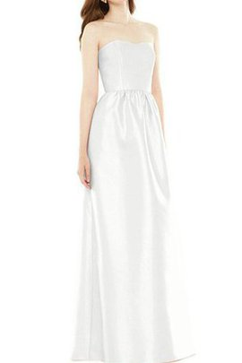 Floor Length Ruched Satin A-Line Strapless Bridesmaid Dress