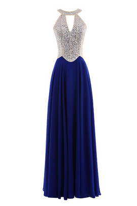 High Neck V-Neck Sequins Strapless Organza Evening Dress