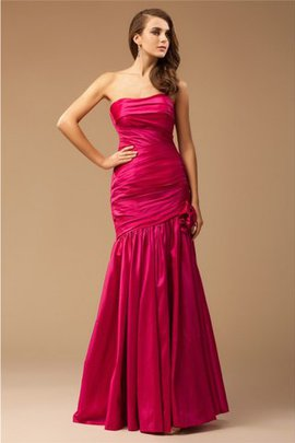 Mermaid Natural Waist Floor Length Strapless Taffeta Prom Dress