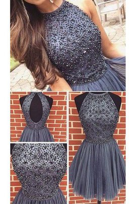 Beading A-Line Sleeveless Natural Waist Scoop Homecoming Dress