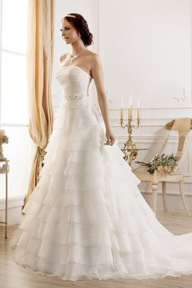 Lace-up Sleeveless A-Line Court Train Floor Length Wedding Dress