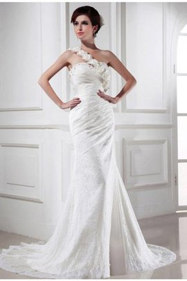 Chapel Train Satin Zipper Up Beading Long Wedding Dress