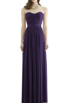 Long Strapless Chiffon Simple Ruched Bridesmaid Dress