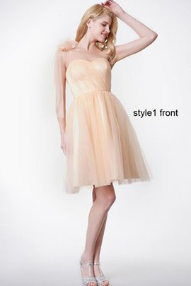 Ruffles Tulle Pleated Sleeveless Zipper Up Bridesmaid Dress