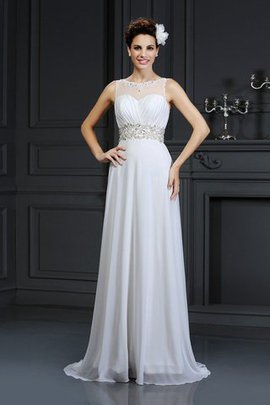 Empire Waist Long Zipper Up Bateau A-Line Wedding Dress